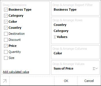 fields list in pivot table js