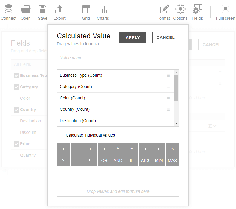 Calculated values pop-up version 2.4
