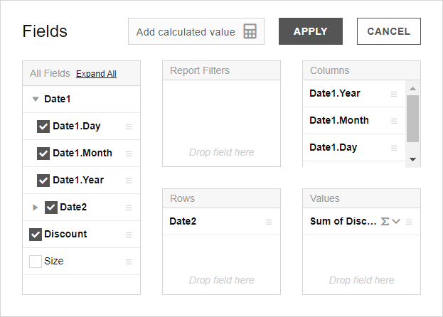 date data types from CSV in the Field List