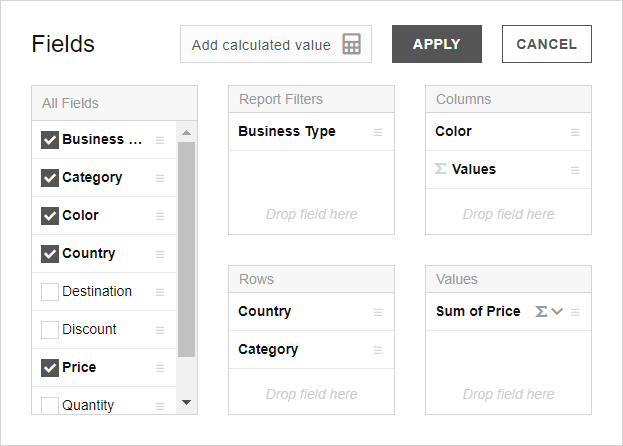 fields list in pivot table js