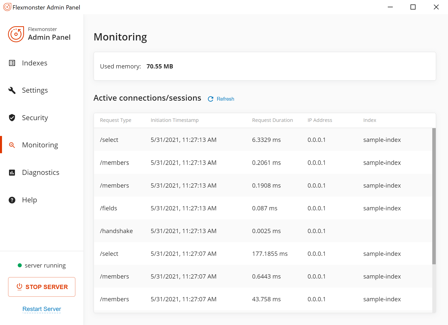 Monitoring tab in the Admin Panel