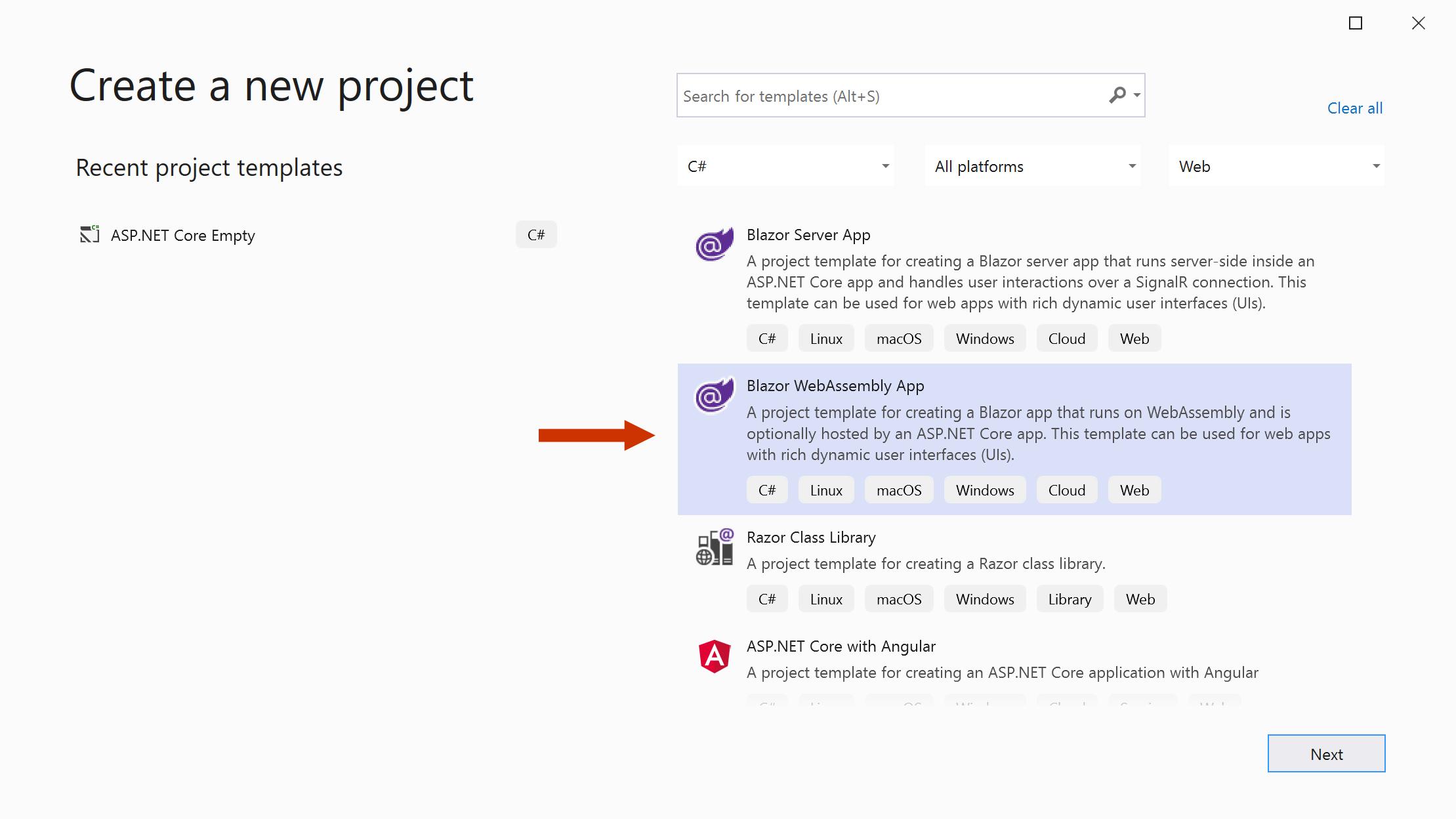 Select the Blazor WebAssembly App template